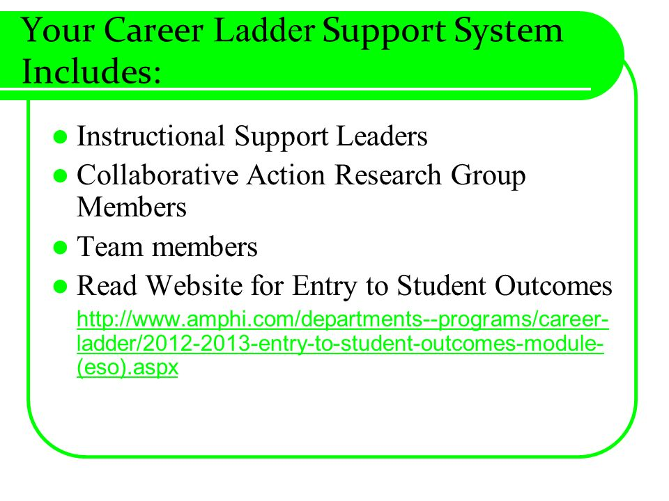 Your Career Ladder Support System Includes: Instructional Support Leaders Collaborative Action Research Group Members Team members Read Website for Entry to Student Outcomes http://www.amphi.com/departments--programs/career- ladder/2012-2013-entry-to-student-outcomes-module- (eso).aspx