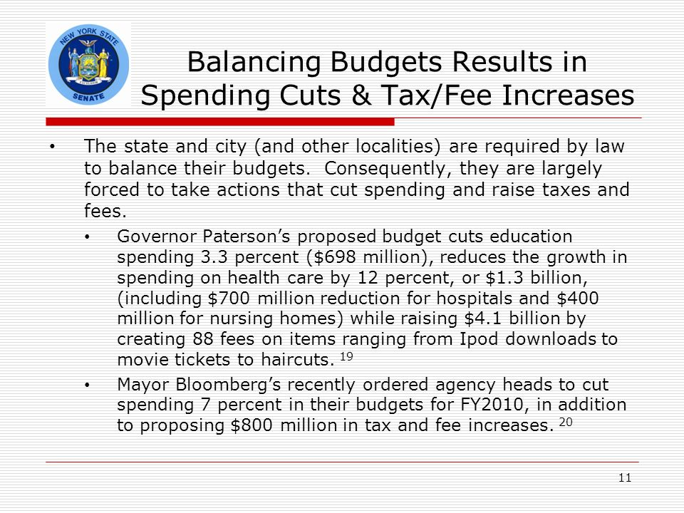 Balancing Budgets Results in Spending Cuts & Tax/Fee Increases The state and city (and other localities) are required by law to balance their budgets.