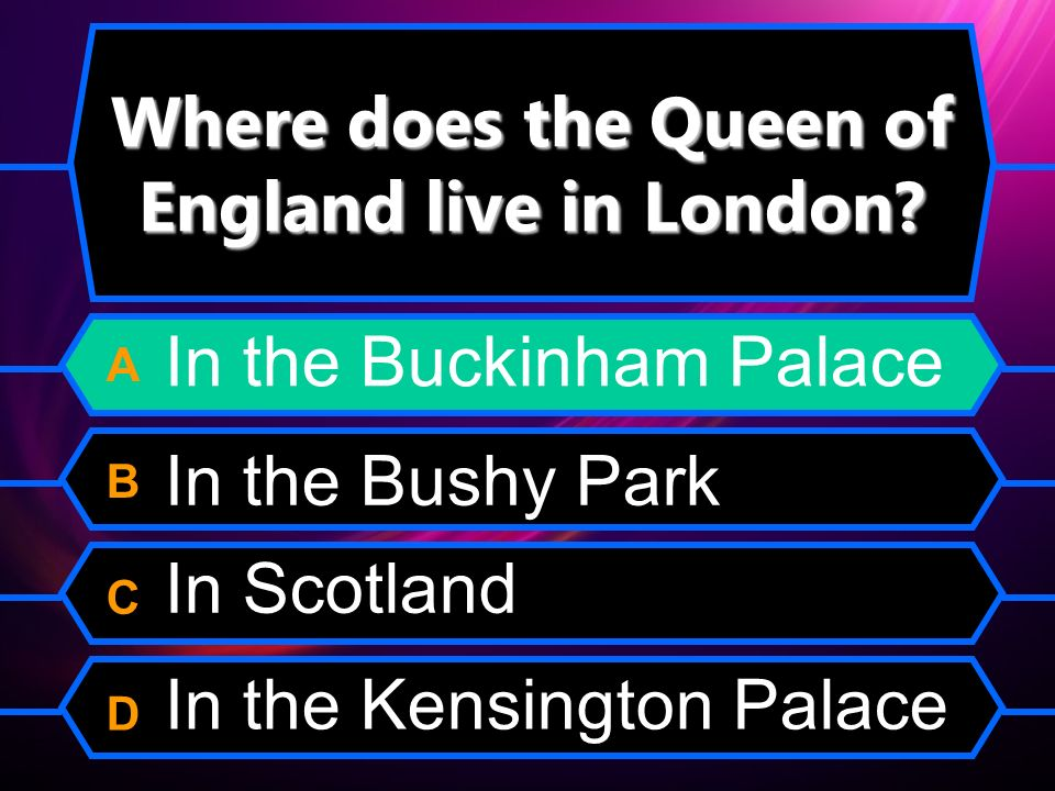 Where does the Queen of England live in London.