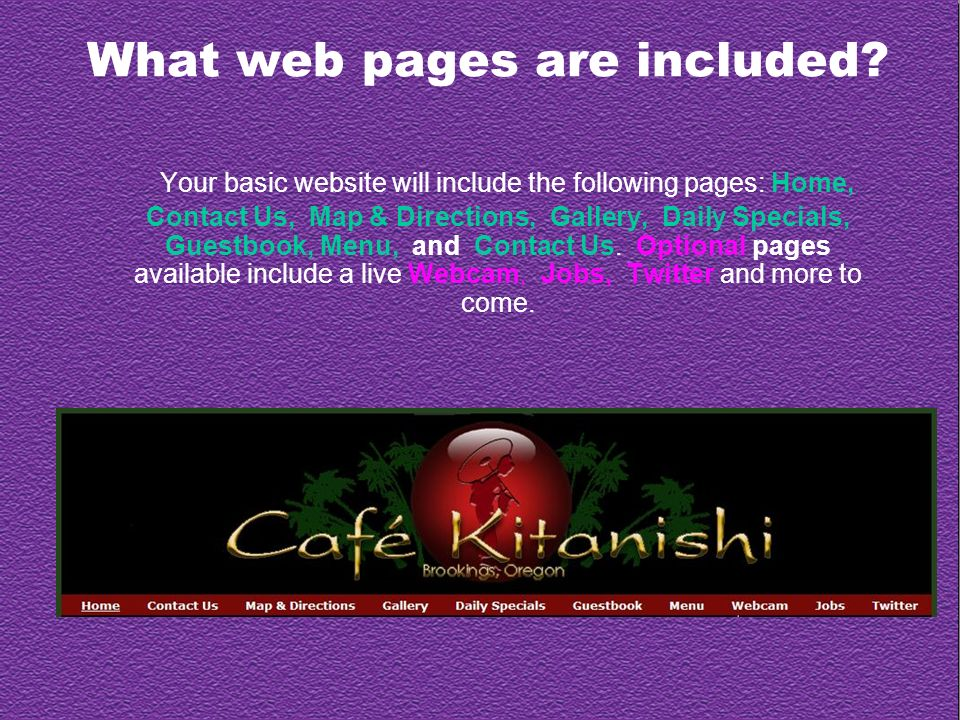 What web pages are included.