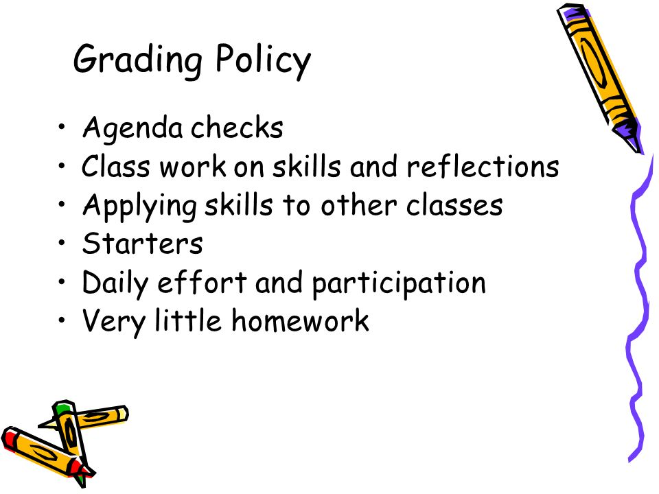 Agenda checks Class work on skills and reflections Applying skills to other classes Starters Daily effort and participation Very little homework Grading Policy