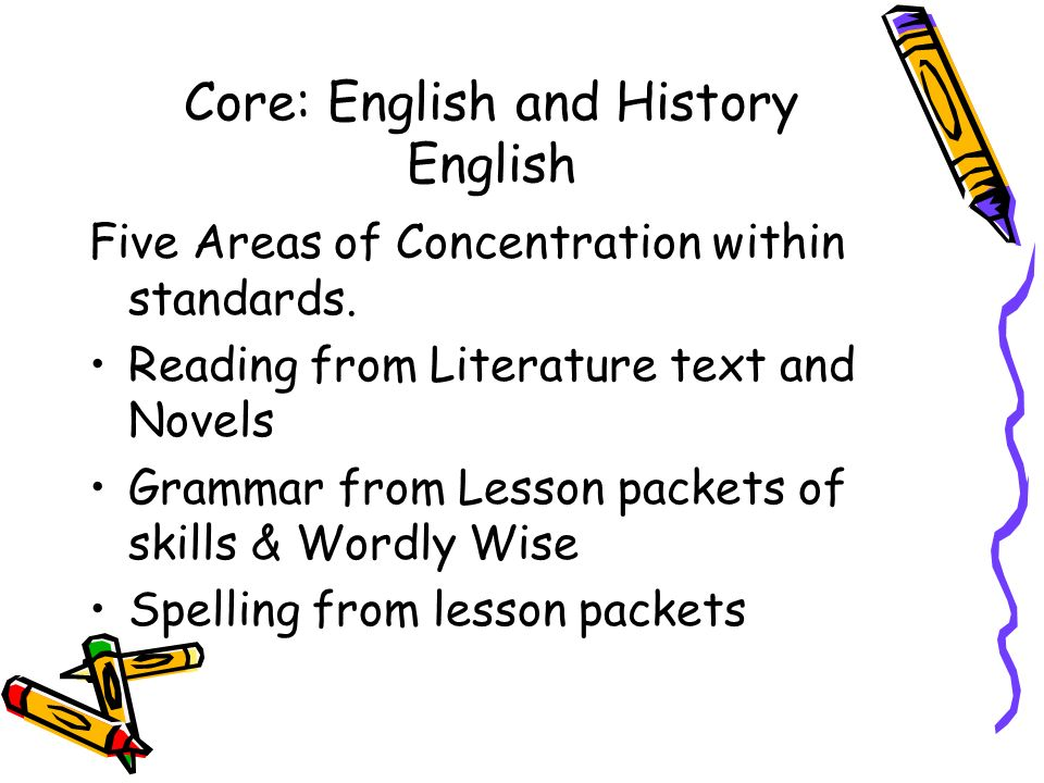 Core: English and History English Five Areas of Concentration within standards.