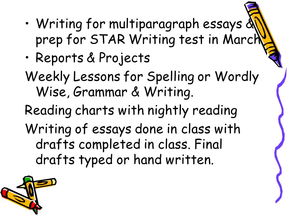 Writing for multiparagraph essays & prep for STAR Writing test in March Reports & Projects Weekly Lessons for Spelling or Wordly Wise, Grammar & Writing.