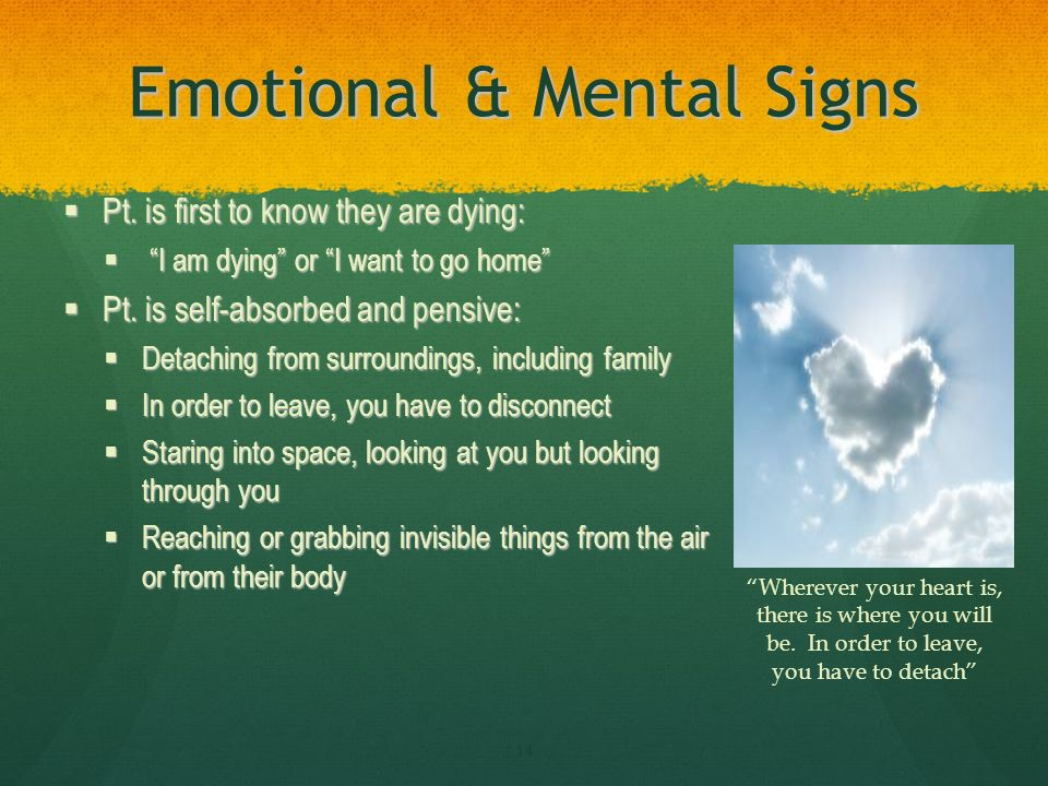 Emotional & Mental Signs Pt. is first to know they are dying: Pt.