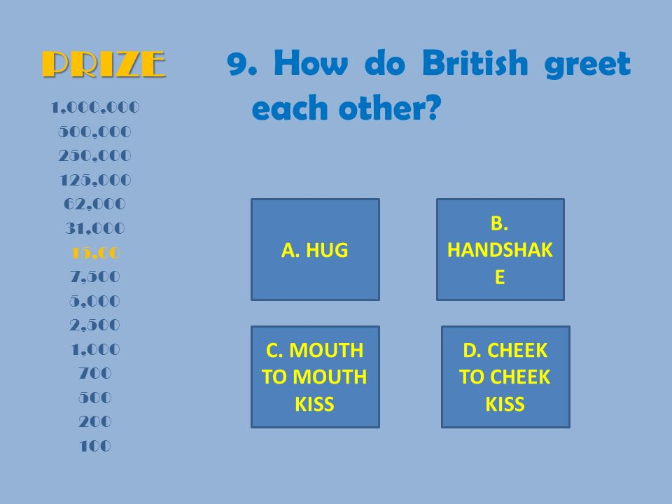 PRIZE 9. How do British greet each other.