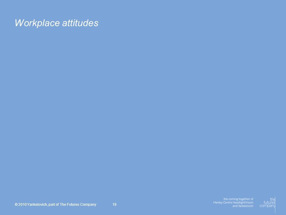 © 2010 Yankelovich, part of The Futures Company 19 Workplace attitudes