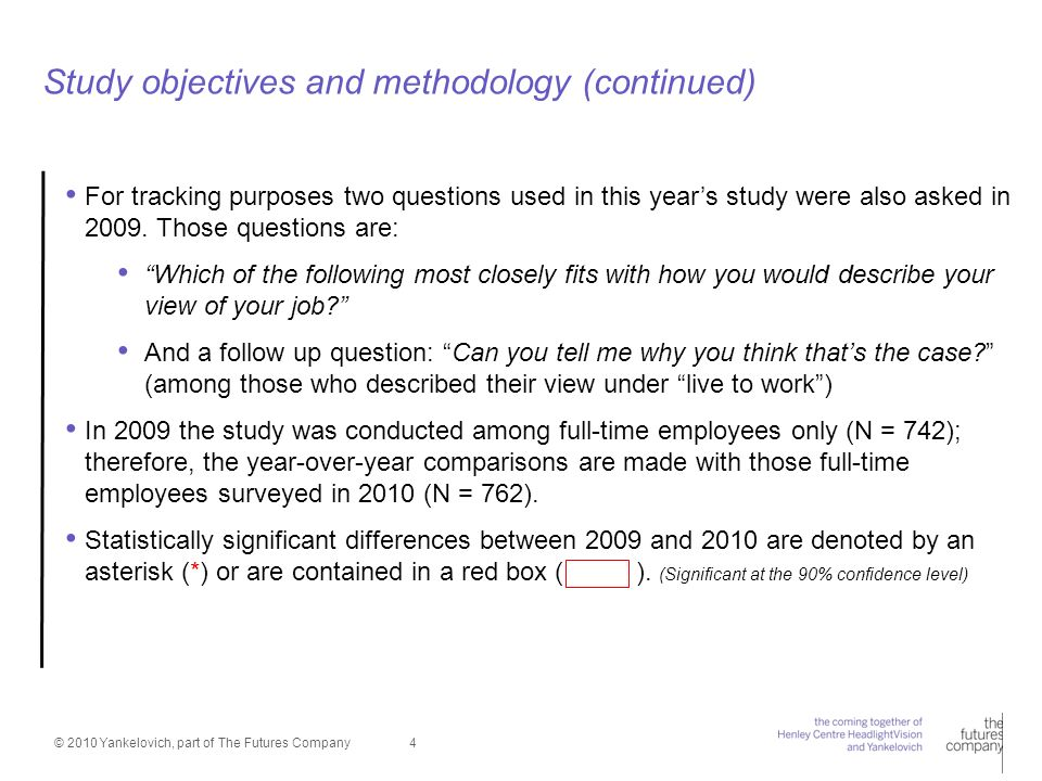 © 2010 Yankelovich, part of The Futures Company 4 Study objectives and methodology (continued) For tracking purposes two questions used in this years study were also asked in 2009.