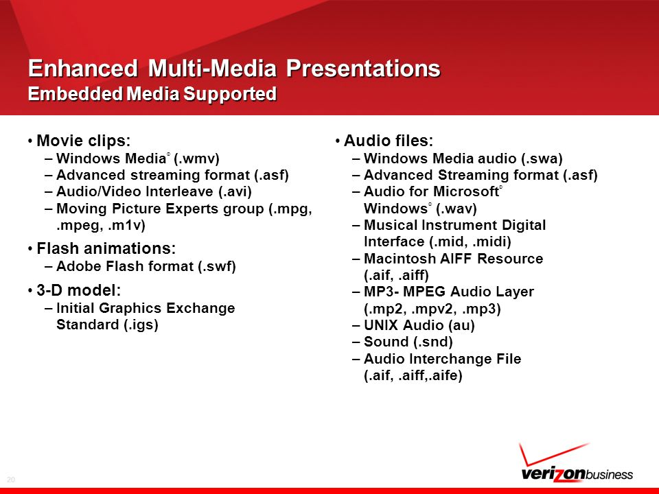 20 Enhanced Multi-Media Presentations Embedded Media Supported Movie clips: –Windows Media ® (.wmv) –Advanced streaming format (.asf) –Audio/Video Interleave (.avi) –Moving Picture Experts group (.mpg,.mpeg,.m1v) Flash animations: –Adobe Flash format (.swf) 3-D model: –Initial Graphics Exchange Standard (.igs) Audio files: –Windows Media audio (.swa) –Advanced Streaming format (.asf) –Audio for Microsoft ® Windows ® (.wav) –Musical Instrument Digital Interface (.mid,.midi) –Macintosh AIFF Resource (.aif,.aiff) –MP3- MPEG Audio Layer (.mp2,.mpv2,.mp3) –UNIX Audio (au) –Sound (.snd) –Audio Interchange File (.aif,.aiff,.aife)