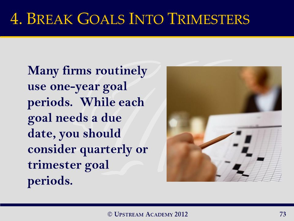 © U PSTREAM A CADEMY 2012 Many firms routinely use one-year goal periods.