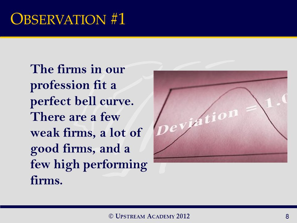 © U PSTREAM A CADEMY 2012 The firms in our profession fit a perfect bell curve.