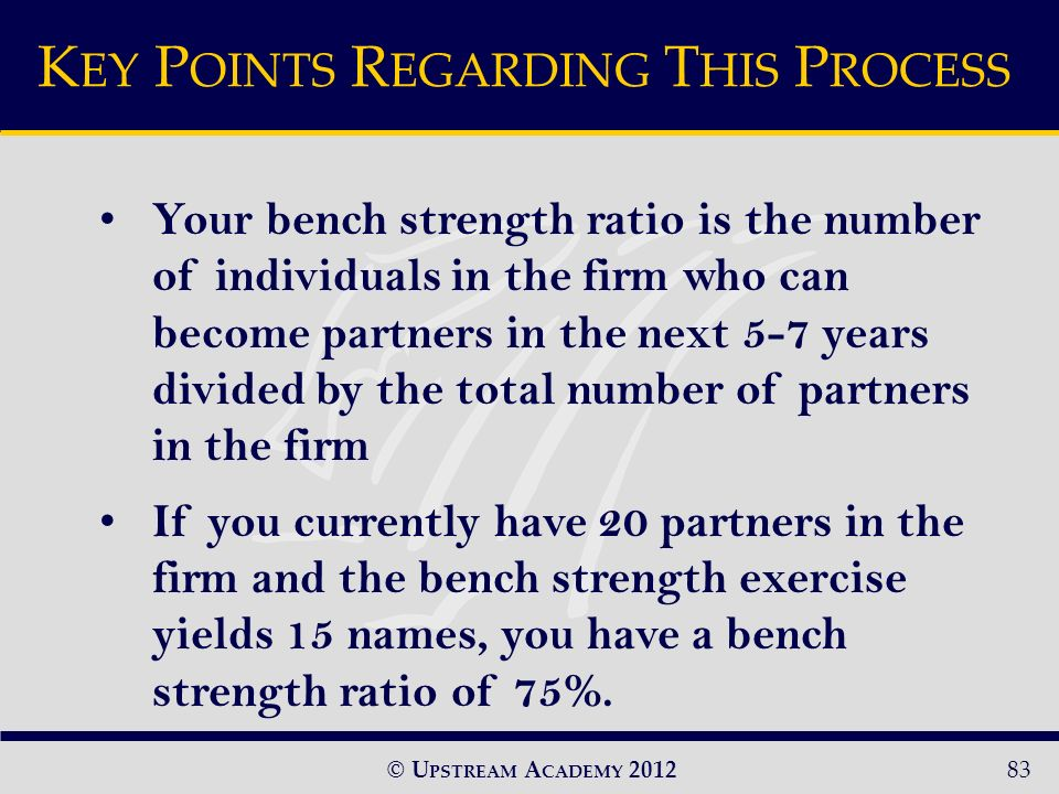 © U PSTREAM A CADEMY Your bench strength ratio is the number of individuals in the firm who can become partners in the next 5-7 years divided by the total number of partners in the firm If you currently have 20 partners in the firm and the bench strength exercise yields 15 names, you have a bench strength ratio of 75%.
