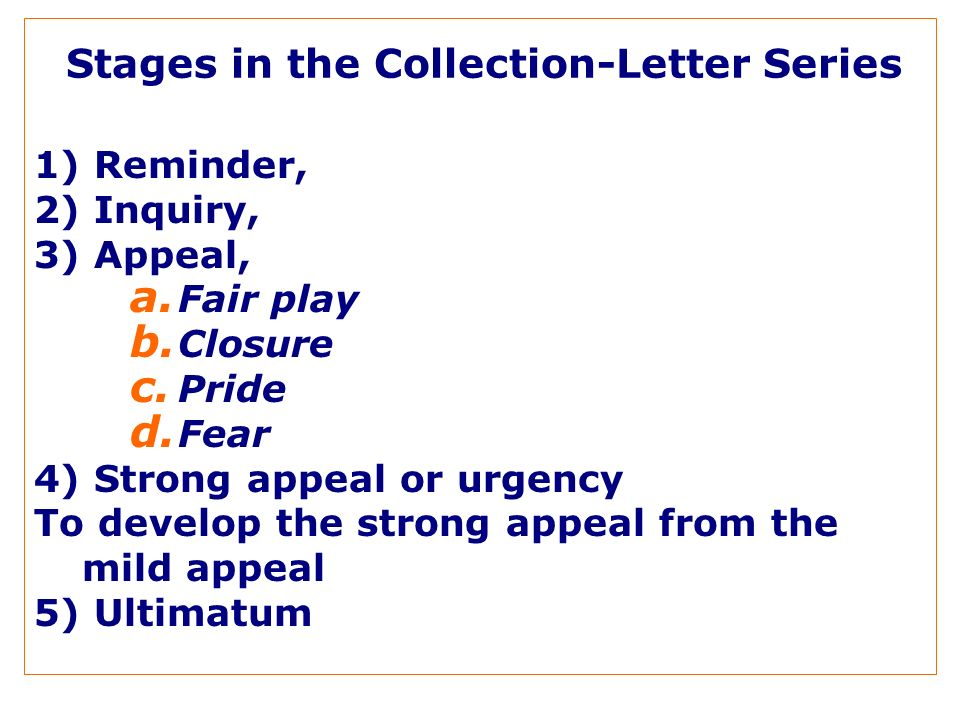 Stages in the Collection-Letter Series 1) Reminder, 2) Inquiry, 3) Appeal, a.