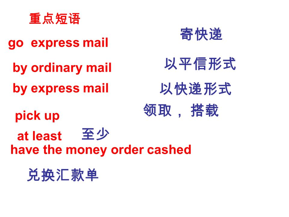 go express mail by ordinary mail by express mail pick up at least have the money order cashed