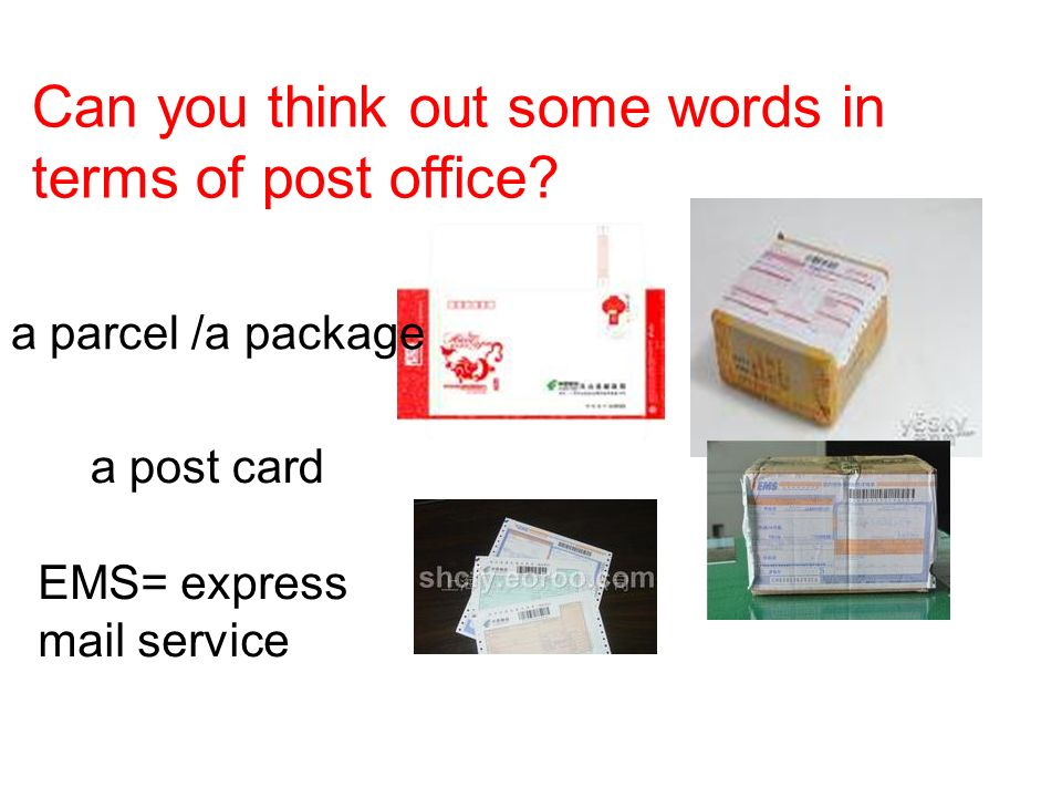Can you think out some words in terms of post office.
