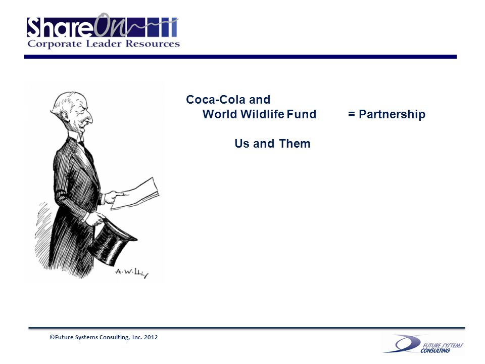 ©Future Systems Consulting, Inc. 2012 Coca-Cola and World Wildlife Fund = Partnership Us and Them