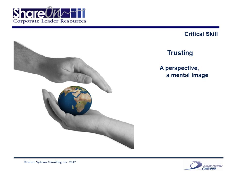 ©Future Systems Consulting, Inc. 2012 Trusting A perspective, a mental image Critical Skill