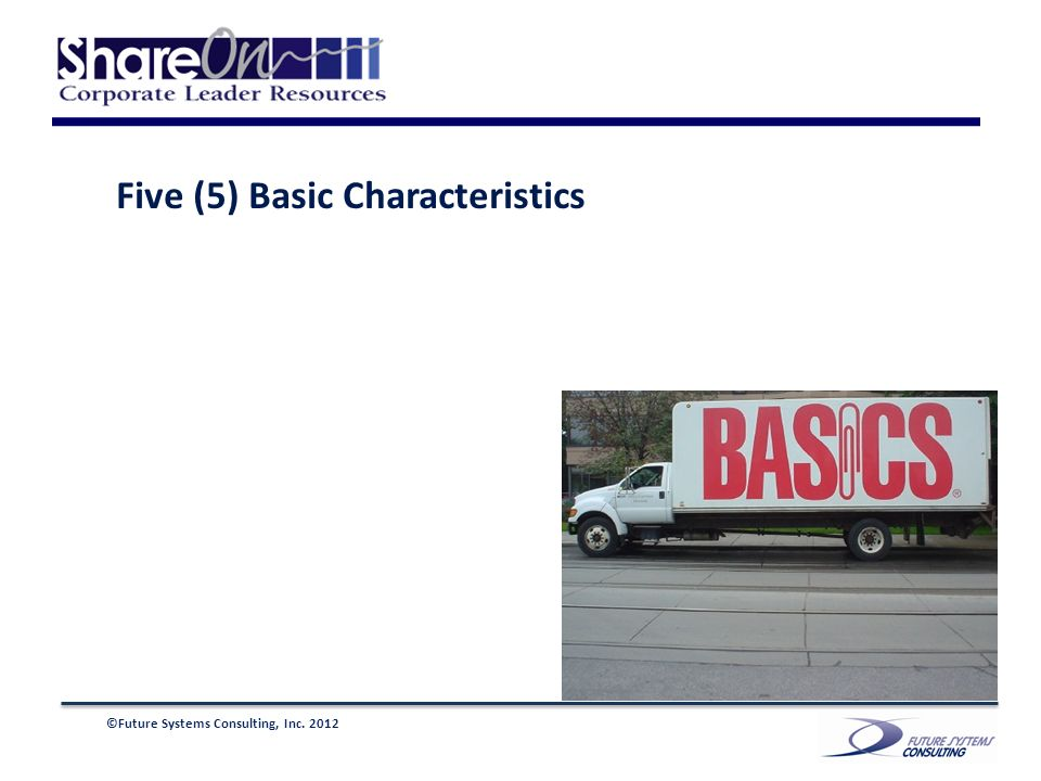 ©Future Systems Consulting, Inc. 2012 Five (5) Basic Characteristics