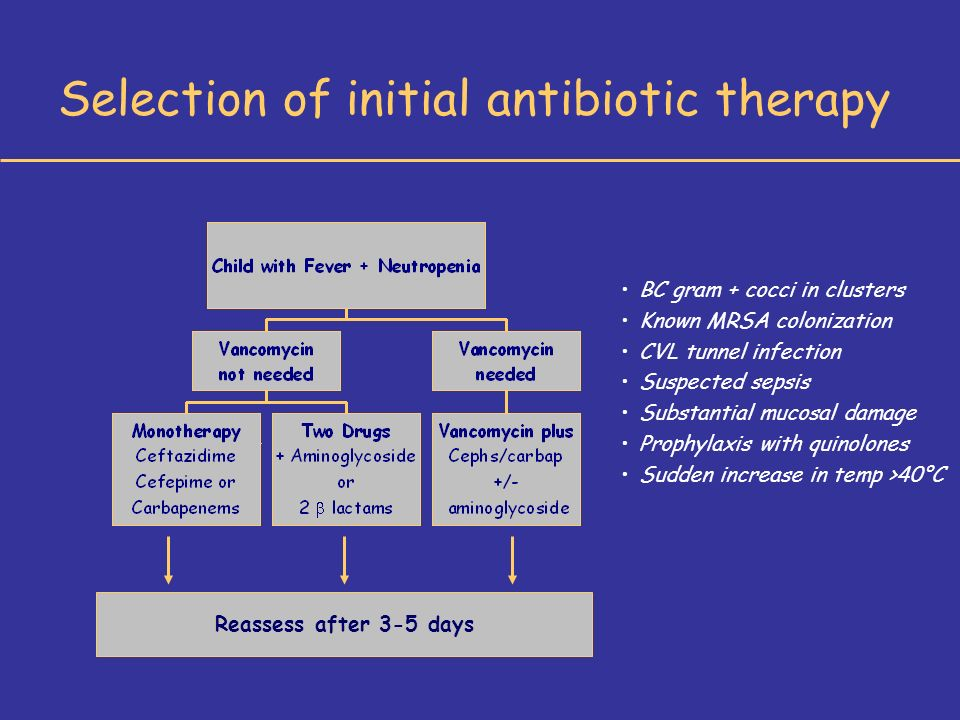 Reassess after 3-5 days BC gram + cocci in clusters Known MRSA colonization CVL tunnel infection Suspected sepsis Substantial mucosal damage Prophylaxis with quinolones Sudden increase in temp >40°C Selection of initial antibiotic therapy