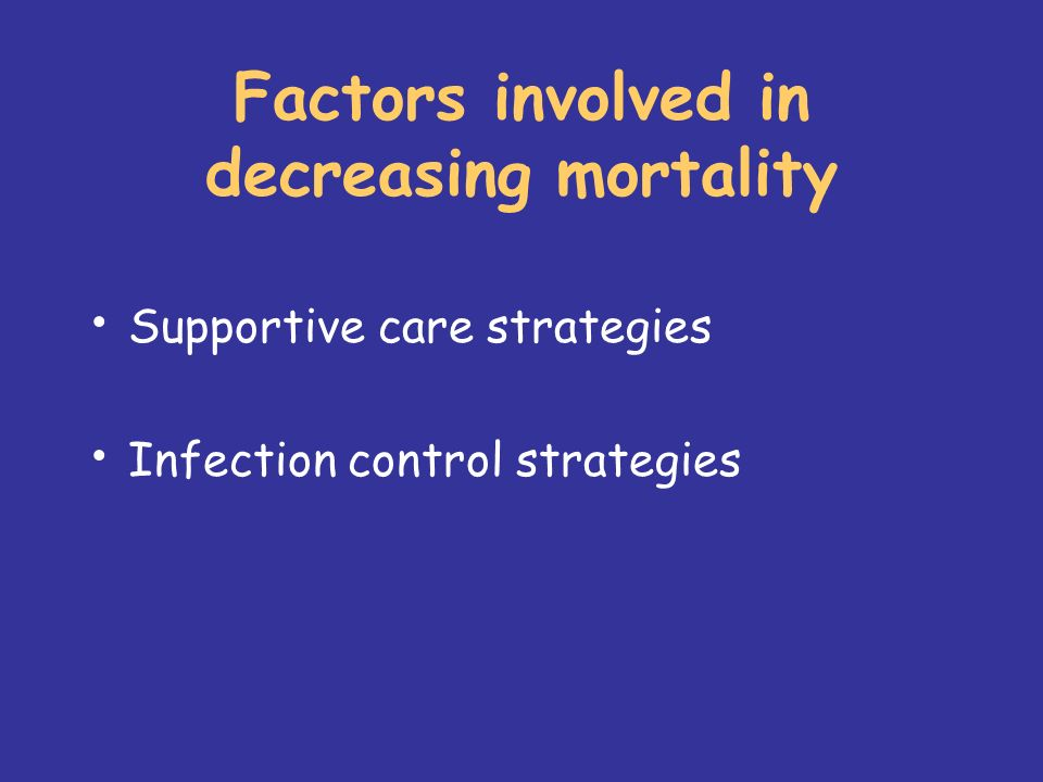 Factors involved in decreasing mortality Supportive care strategies Infection control strategies