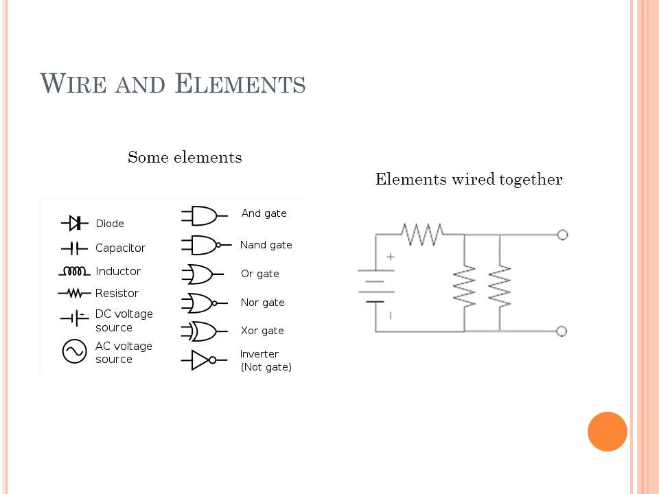 W IRE AND E LEMENTS Some elements Elements wired together