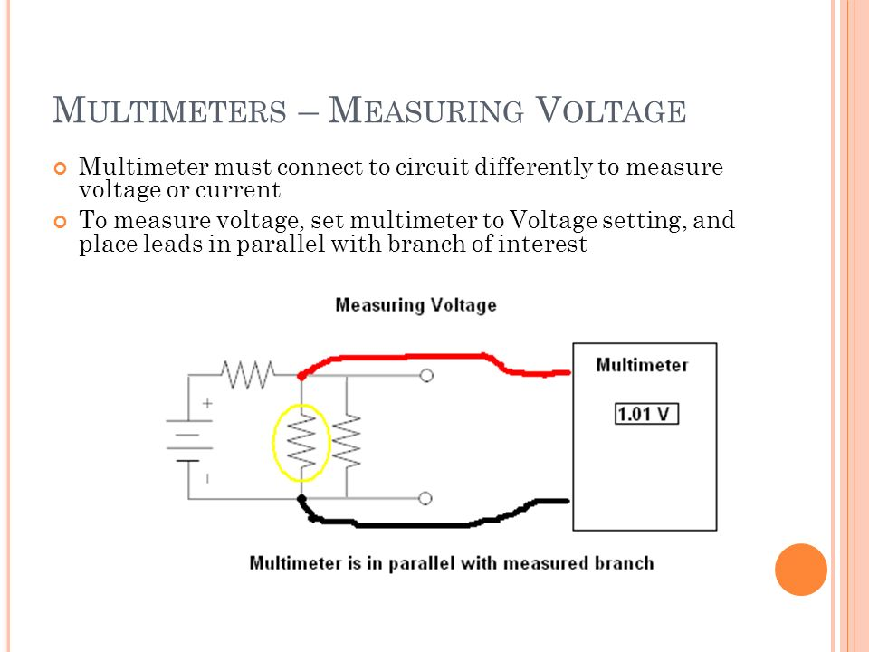 M ULTIMETERS – M EASURING V OLTAGE Multimeter must connect to circuit differently to measure voltage or current To measure voltage, set multimeter to Voltage setting, and place leads in parallel with branch of interest