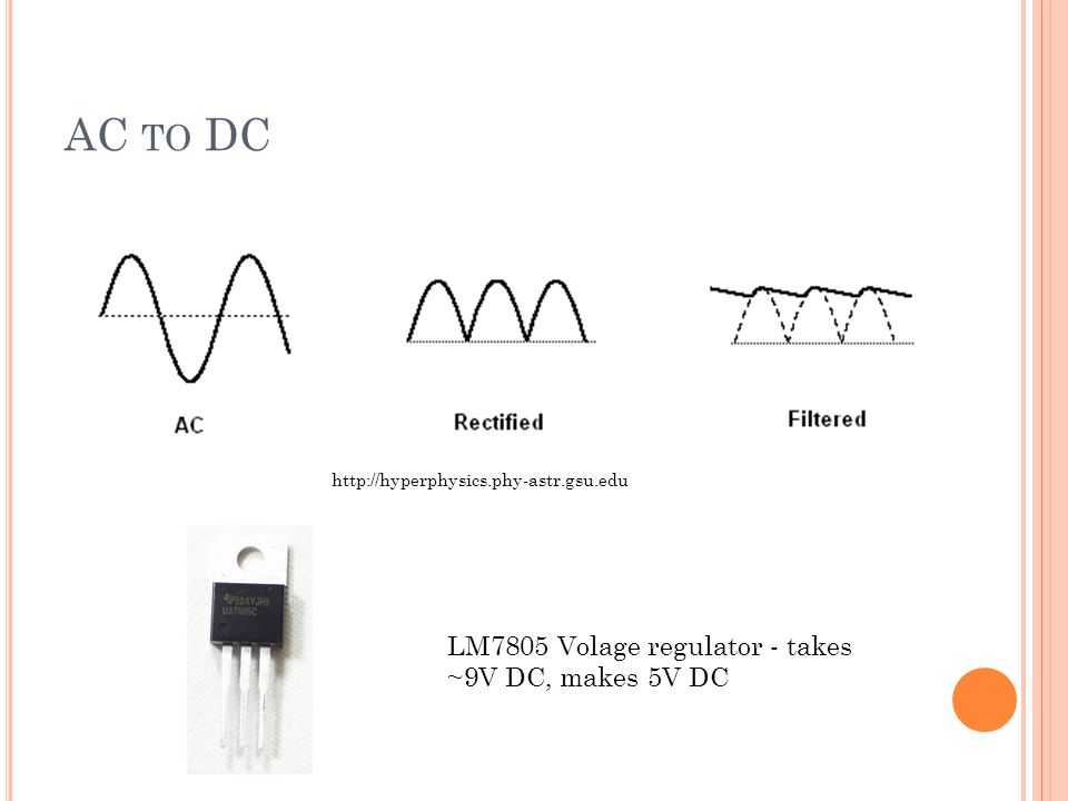 AC TO DC   LM7805 Volage regulator - takes ~9V DC, makes 5V DC