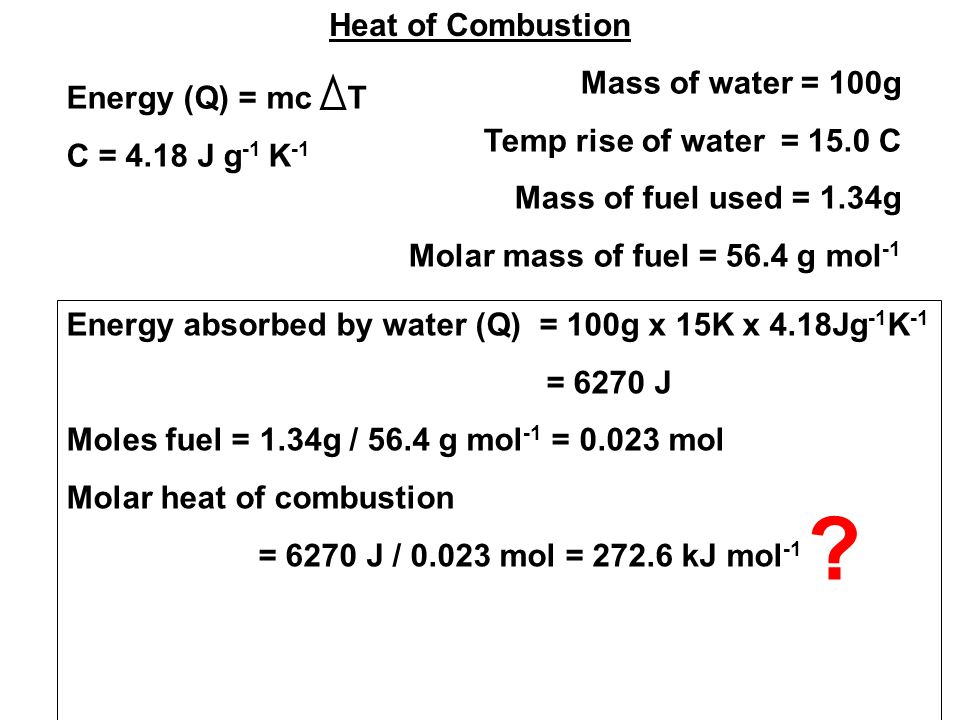 Heat of Combustion Mass of water = 100g Temp rise of water = 15.0 C Mass of fuel used = 1.34g Molar mass of fuel = 56.4 g mol -1 Energy (Q) = mc T C = 4.18 J g -1 K -1 Energy absorbed by water (Q) = 100g x 15K x 4.18Jg -1 K -1 = 6270 J Moles fuel = 1.34g / 56.4 g mol -1 = mol Molar heat of combustion = 6270 J / mol = kJ mol -1