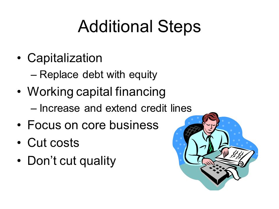 Additional Steps Capitalization –Replace debt with equity Working capital financing –Increase and extend credit lines Focus on core business Cut costs Dont cut quality