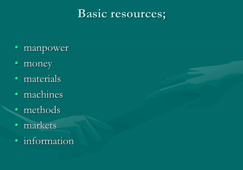 Basic resources; manpowermanpower moneymoney materialsmaterials machinesmachines methodsmethods marketsmarkets informationinformation