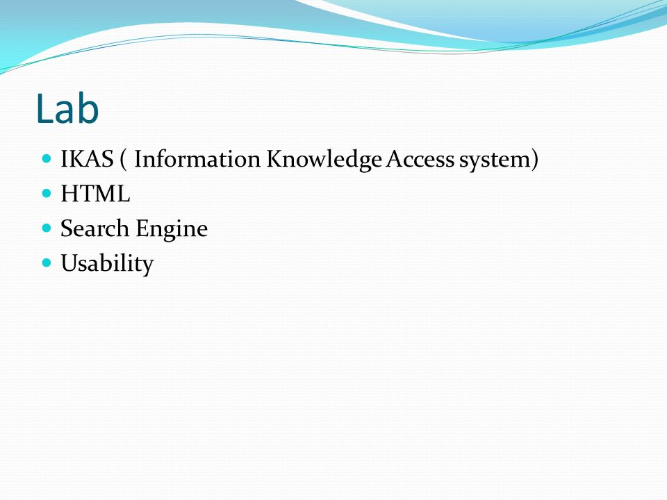Lab IKAS ( Information Knowledge Access system) HTML Search Engine Usability