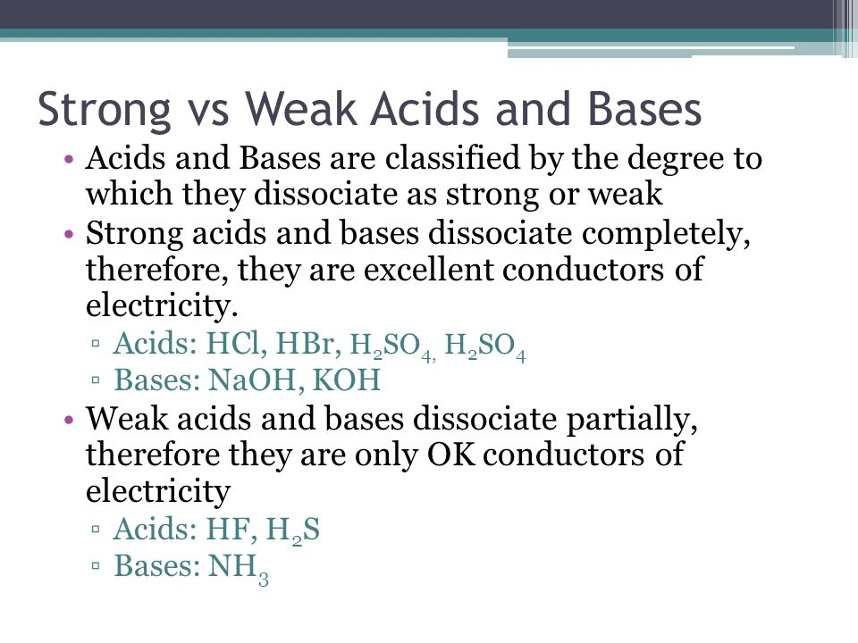 Strong vs Weak Acids and Bases Acids and Bases are classified by the degree to which they dissociate as strong or weak Strong acids and bases dissociate completely, therefore, they are excellent conductors of electricity.