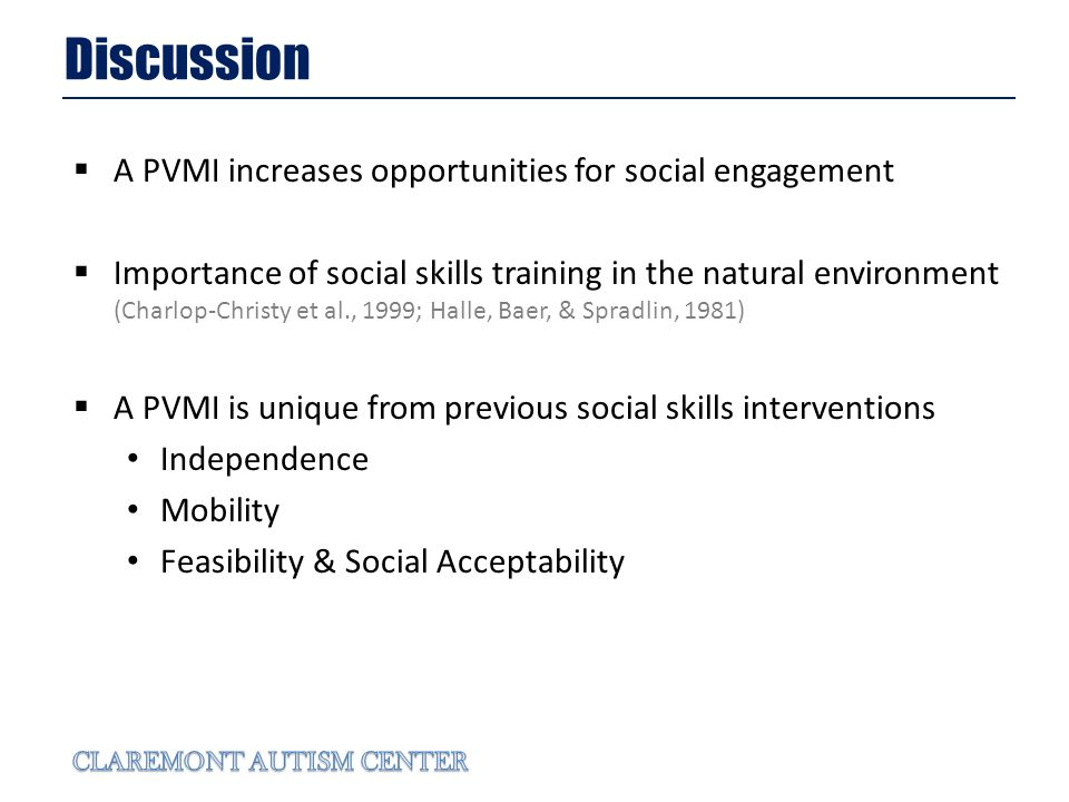 Discussion A PVMI increases opportunities for social engagement Importance of social skills training in the natural environment (Charlop-Christy et al., 1999; Halle, Baer, & Spradlin, 1981) A PVMI is unique from previous social skills interventions Independence Mobility Feasibility & Social Acceptability