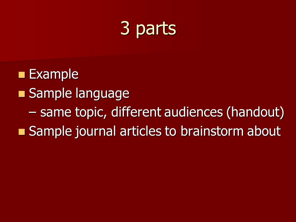 3 parts Example Example Sample language Sample language – same topic, different audiences (handout) Sample journal articles to brainstorm about Sample journal articles to brainstorm about