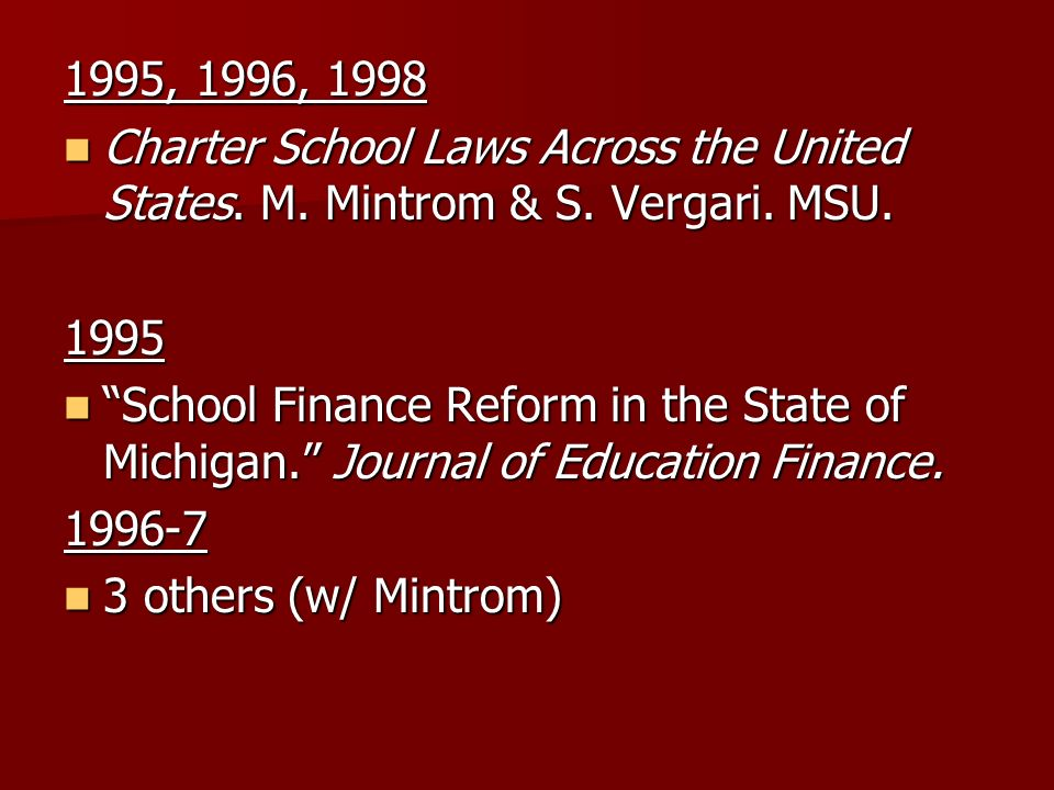 1995, 1996, 1998 Charter School Laws Across the United States.