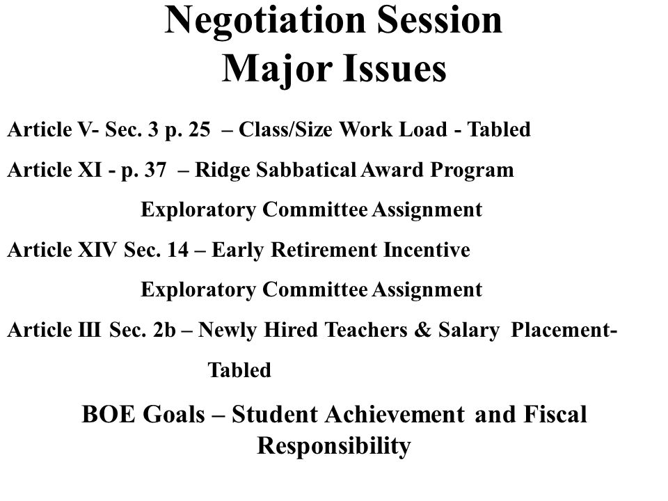 Negotiation Session Early Agreements Article III - Section 1b – p.