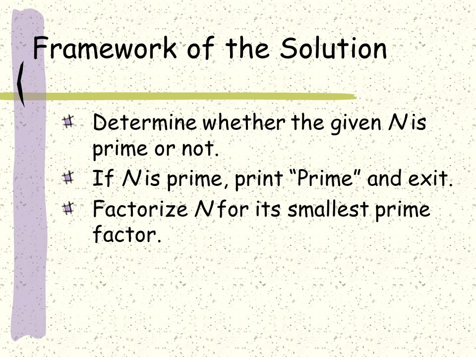 Framework of the Solution Determine whether the given N is prime or not.