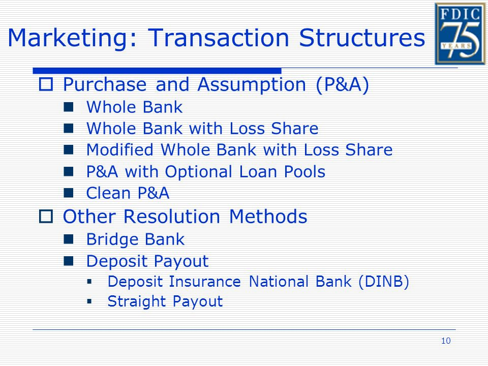 10 Marketing: Transaction Structures Purchase and Assumption (P&A) Whole Bank Whole Bank with Loss Share Modified Whole Bank with Loss Share P&A with Optional Loan Pools Clean P&A Other Resolution Methods Bridge Bank Deposit Payout Deposit Insurance National Bank (DINB) Straight Payout