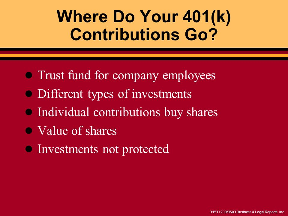 /0503 Business & Legal Reports, Inc. Where Do Your 401(k) Contributions Go.