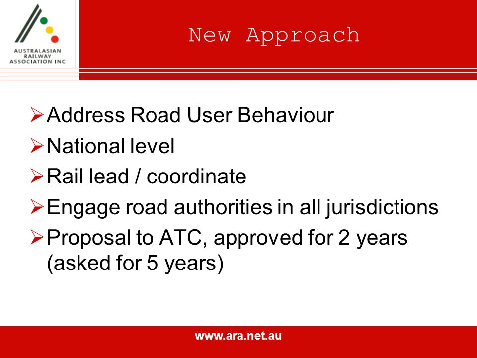 www.ara.net.au New Approach Address Road User Behaviour National level Rail lead / coordinate Engage road authorities in all jurisdictions Proposal to ATC, approved for 2 years (asked for 5 years)