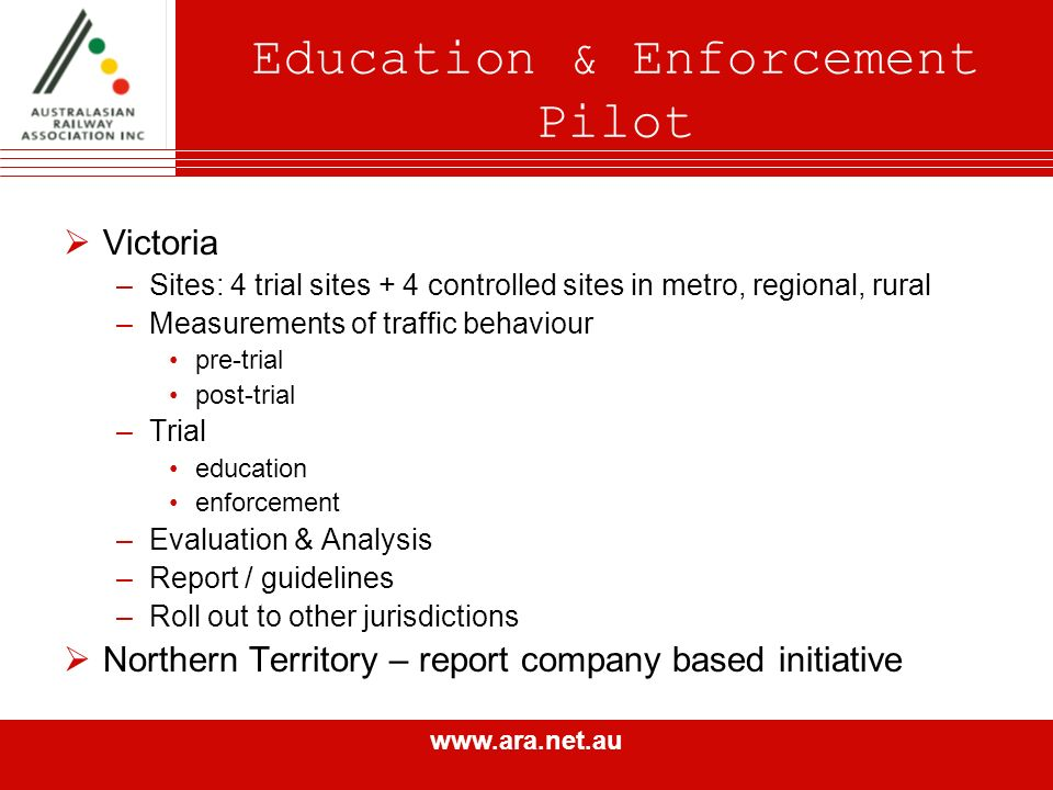 www.ara.net.au Victoria –Sites: 4 trial sites + 4 controlled sites in metro, regional, rural –Measurements of traffic behaviour pre-trial post-trial –Trial education enforcement –Evaluation & Analysis –Report / guidelines –Roll out to other jurisdictions Northern Territory – report company based initiative Education & Enforcement Pilot