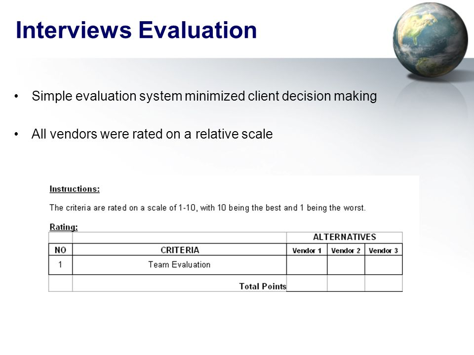 Interviews Evaluation Simple evaluation system minimized client decision making All vendors were rated on a relative scale