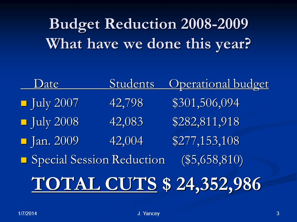 1/7/2014 3J. Yancey Budget Reduction 2008-2009 What have we done this year.