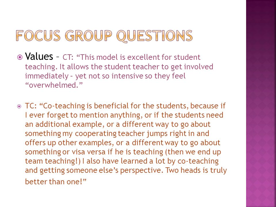 Values – CT: This model is excellent for student teaching.