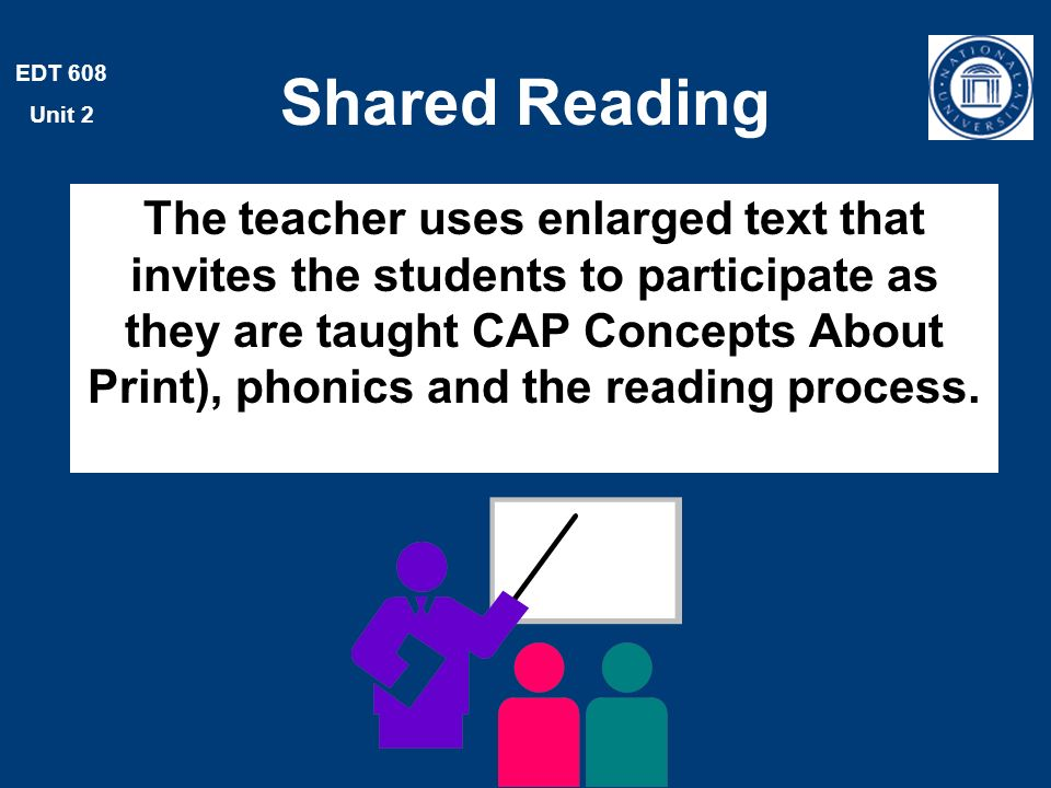 EDT 608 Unit 2 Shared Reading The teacher uses enlarged text that invites the students to participate as they are taught CAP Concepts About Print), phonics and the reading process.