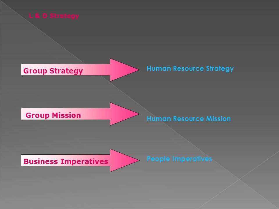 Human Resource Strategy Human Resource Mission People Imperatives Group Strategy Group Mission Business Imperatives L & D Strategy