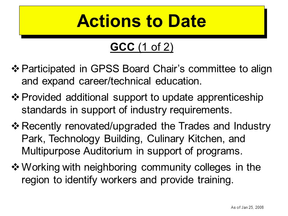 -----DRAFT----- As of Jan 25, 2008 Actions to Date GCC (1 of 2) Participated in GPSS Board Chairs committee to align and expand career/technical education.
