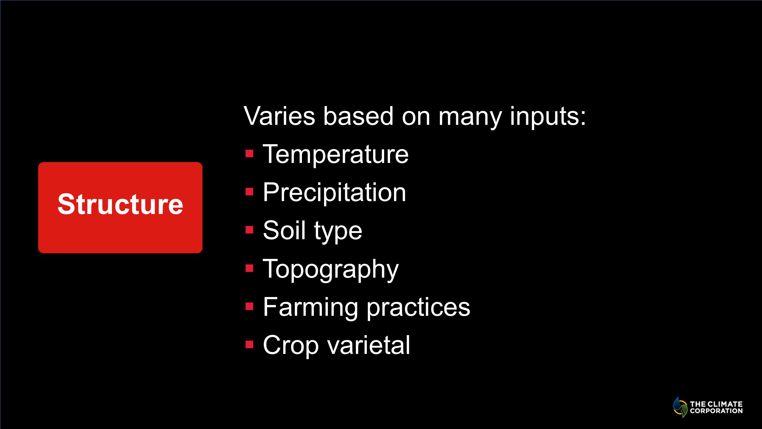 Structure Varies based on many inputs: Temperature Precipitation Soil type Topography Farming practices Crop varietal