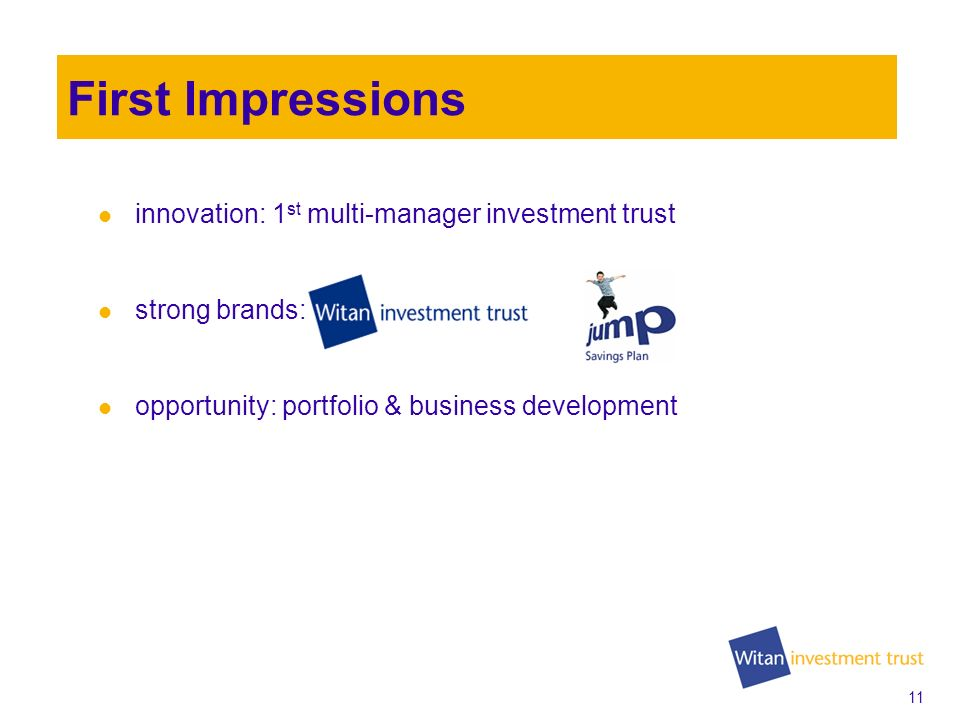 10 First Impressions Financials –Performance –Dividend –Discount –Debt Repurchase –Total Expense Ratio Business Development –Witan Investment Services –New Business Development 2009 AGM