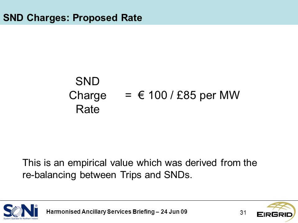 Harmonised Ancillary Services Briefing – 24 Jun SND Charges: Proposed Rate SND Charge Rate = 100 / £85 per MW This is an empirical value which was derived from the re-balancing between Trips and SNDs.