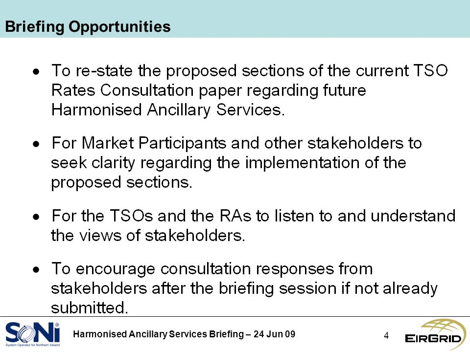 Harmonised Ancillary Services Briefing – 24 Jun 09 4 Briefing Opportunities